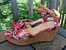 NINE WEST Satin Sheen Paisley Wedges Platforms Sandals Shoes Womens Size 10 👠b3