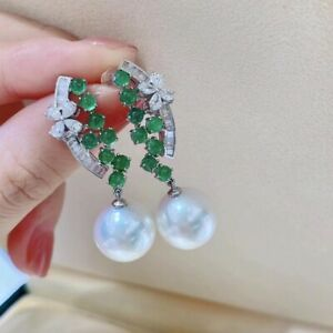 10-11 mm natural round south sea white   pearl earrings