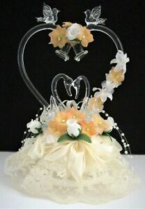 Vintage Wedding, Anniversary Cake Topper w/ Glass Swans, Lovebirds, Bells, Heart
