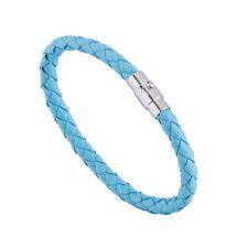 Punk Cool Womens Men Wide Handmade Leather Belt Bracelet Cuff Wristband Bangle Lake Blue