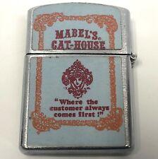 Rare Vintage Mabels Cat House Brothel Customer Comes First Metal Penguin Lighter