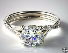 1.60ct Brilliant Twisted Pave Diamond Solitaire Engagement Ring 14k White Gold