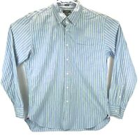 J Crew Mens Button Down Dress Shirt Tailored Fit Size Large Blue/Green Stripes