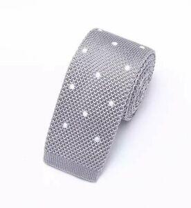 Silver Grey White Tie Polka Dot Fabric Skinny Weave Knitted Handmade 5.5cm