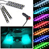 4x9LED Car Interior Floor Atmosphere Light Strip Decor Lamp Accessories Ice Blue