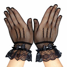 NEW LADIES CLASSIFIED FISHNET LACE UP GLOVES ~ BLACK NEON GREEN PINK HALLOWEEN