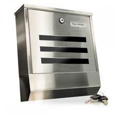 Design Edelstahl Briefkasten Postkasten Metall mit Zeitungsfach und Namensschild
