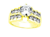 2.25Ct Round Cut Untreated Diamond 2Row Engagement Ring Solid 18k Gold F VS1