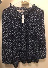 Ann Taylor LOFT Plus Floral Peplum Blouse Navy Blue Long Sleeve Size 20 NWT