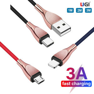 3A Charger USB Cable Fast Charging Micro Type C For iPhone X 12 11 Samsung QC3.0