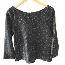 Old Navy Top Womens M Boxy Slub Space Dye Exposed Zipper Cotton Grunge Black