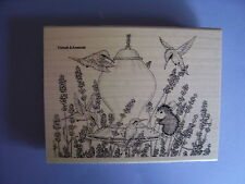 HOUSE MOUSE RUBBER STAMPS LAVENDER BIRD FEEDER NEW WOOD STAMP