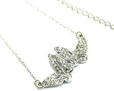 New Silver Tone Crystal Butterfly Duo Charm Necklace in Gift Box