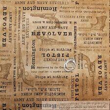 BonEful Fabric FQ Cotton Quilt Brown Army Navy Gun Hunt Pistol Revolver Cowboy S