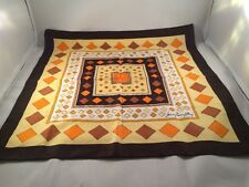 "Jean Pierre Robin 20"" x 20"" Scarf Orange Brown Yellow Geometric Diamond Square"