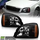 Black 2000-2005 Cadillac Deville Headlights Headlamps Left+Right Aftermarket Set  for sale