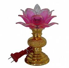 "6.75"" Chinese Asian Table Desk Altar Lotus Buddha Lamp Light"