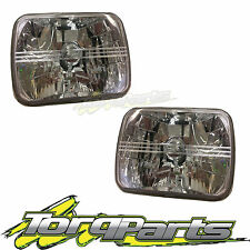 "HEADLIGHTS 7""X5"" PAIR SUIT F100 F150 F250 F350 SEMI SEALED CRYSTAL BEAM LAMPS"