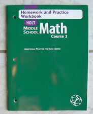 Holt Middle School MATH Course 3 -- 8/8th 2004 NEW Homework/Practice Workbook