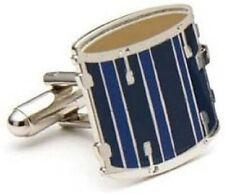 Men's Executive Blue Enamel Musical Hand Drum Cufflinks Cuff Links
