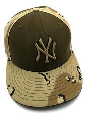 NEW YORK YANKEES brown patterned fitted  cap / hat sz: 7 1/4   large