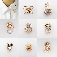 Fashion Women Men Collar Pin Cute Crystal Animal Badge Corsage Brooch Pins Gifts