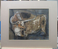 Chris Ritter '50s Modernist Mixed Media of Bull Listed NY & Ogunquit Artist