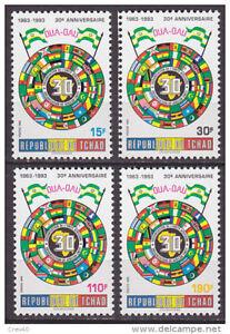 CHAD TCHAD 1993 YT 550/3 - ALGERIA FLAGS DRAPEAUX OUA OAU AFRICAN UNION - MNH