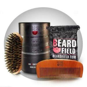 Best Beard Brush Boar Bristles & Wooden Comb Kit for | BeardField