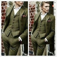2018 Olive Green 3 Pieces Tweed Men's Suit Slim Fit 40 42 44 46 48+ Custom NEW