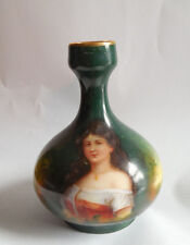 Royal Schwarzburg hand painted portrait  miniature vase signed