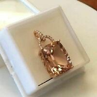 14K Rose Gold Over 3Ct Cushion Cut Morganite Diamond Solitaire Pendant Necklace