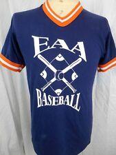 Vintage 80's Blue Orange Poly/Cotton USA Baseball Collegiate Tight fit T-shirt S