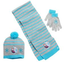 NEW girls DISNEY FROZEN 3pc HAT, GLOVES & SCARF set POM-POM blue ACRYLIC sz 4-16