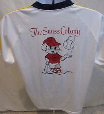 Vtg Swiss Colony Baseball Jersey Shirt Sand Knit Monroe Wisconsin Made in USA L