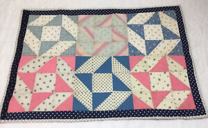 Vintage Patchwork Small Quilt, Doll Crib Quilt, Table Topper, Nine Patch