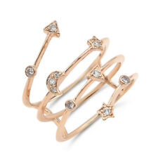 Star Celestial Cocktail Right Hand Ring 18K Rose Gold Pave Diamond Moon