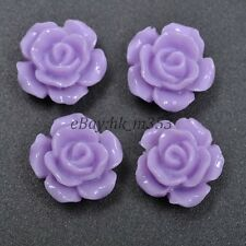 20pcs Purple Cabochons Resin Flatback Flowers  Roses Retro Style  10MM