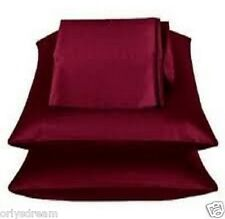 """KING - TWO SOFT """"SILKY"""" SATIN / SATEEN PILLOW CASE / COVER - BURGUNDY (1 PAIR)"""
