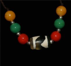 Tibetan zig zag genuine old dzi bead amulet pendant charm ancient real tiger gzi