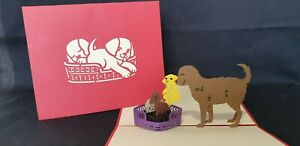 3D Pop Up Dog with Puppies Card.(Birthday, Thank you, Get well...All Occasions