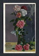 "Birthday Card - Roses in a Vase ""Health & Gladness"" - Postmark 1922"