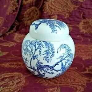 Masons Ginger Lidded Jar Blue & White Kore Pattern Made For Ringtons Ltd