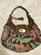Tommy Hilfiger Shoulder Bag Brown Tapestry Embroidered Suede Fall Purse Hobo