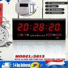 Digital Grande LED Horloge Murale Température Humidité Calendrier 12/24heures FR