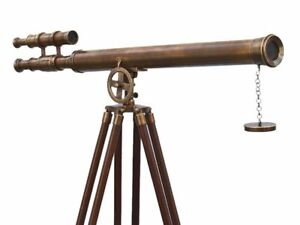 Floor Standing Antique Brass Griffith Astro Telescope With Wooden Tripod Stand