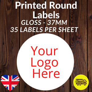 Logo Printed Round Stickers - Custom 37mm gloss labels Personalised