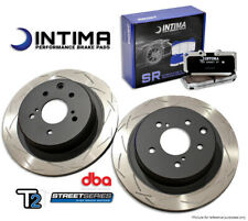 Evo 5-9 DBA T2 Slotted Rotors and Intima SR Brake Pads Package Fronts