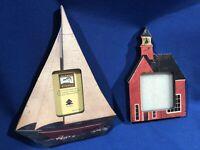HTF~ 2 Warren Kimble Frames ~ Coastal Breeze Sailboat & Baker Schoolhouse