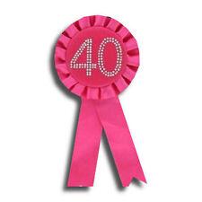 40 Pink Diamante Badge Rosette NEW